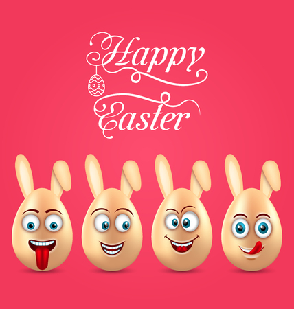 celebration smiley: Humor Easter Invitation with Smiling Eggs with Ears