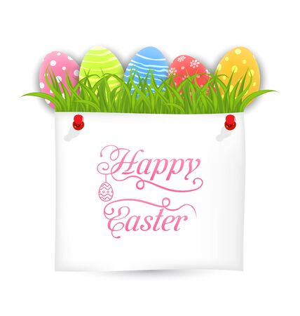 Celebration PostCard with Easter Ornamental Eggs Stock Photo