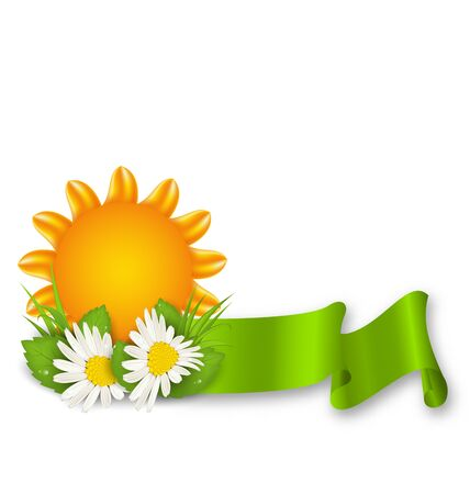 Happy Summer Background with Chamomiles Flowers Stock Photo
