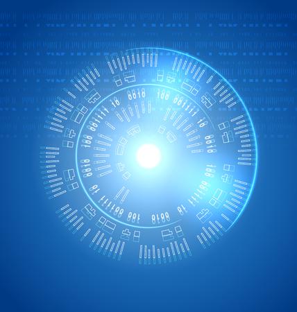input device: Round panel future interface, techno background Illustration