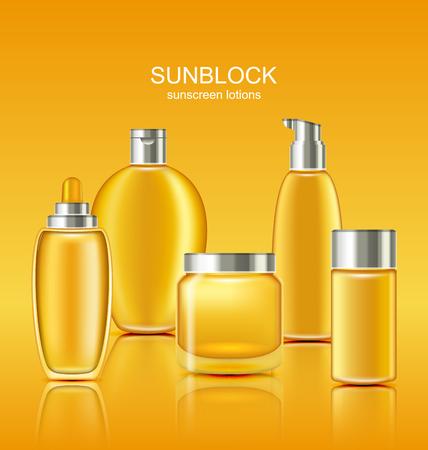 suncare: Set Sunscreen Protection Cosmetics. Sun Care Containers