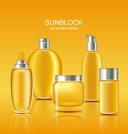Set Sunscreen Protection Cosmetics. Sun Care Containers