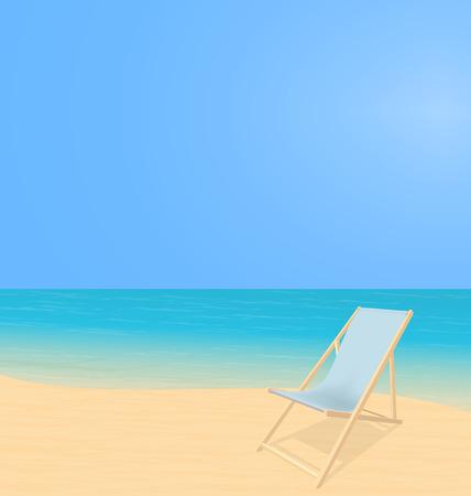 Beach landscape with deck chair Illustration