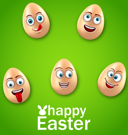 Happy Easter Card with Crazy Eggs, Positive Emotions