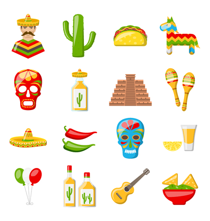 Set of Mexico Icons Isolated on White Background Illustration