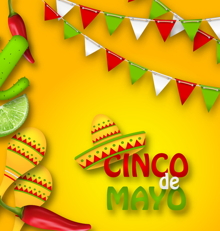 types of cactus: Holiday Celebration Banner for Cinco De Mayo with Chili Pepper, Sombrero Hat, Maracas, Piece of Lime, Cactus
