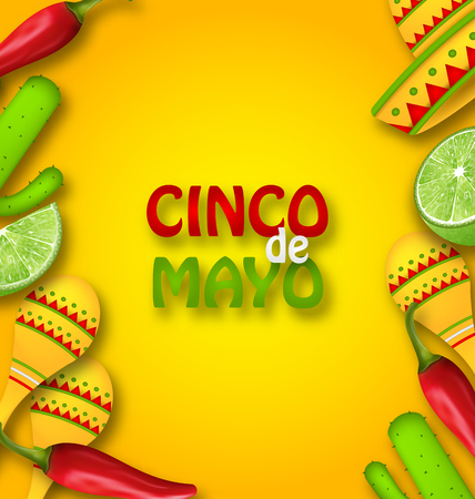 types of cactus: Cinco De Mayo Background with Mexican Traditional Symbols Stock Photo