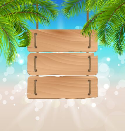 oceanside: Wooden Board for Your Message, Summer Background
