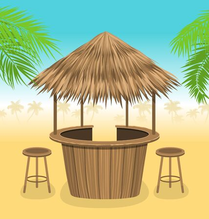 Beach Bar Thatch. Outdoor Background with Lounge Cafe