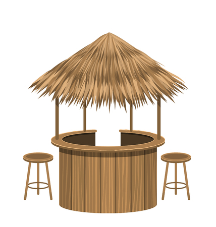 Beach Bar Thatch. Vintage Lounge Cafe Isolated