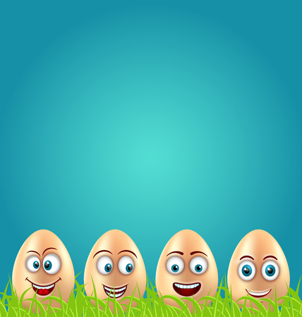 Humor Easter Card with Crazy Eggs on Grass Meadow Stock Photo