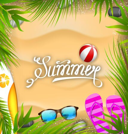 Beautiful Poster with Palm Leaves, Beach Ball, Flip-flops, Surf Board, Sunglasses, Sand Texture