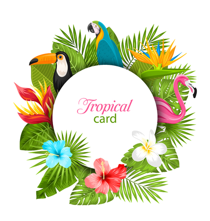 Summer Card With Tropical Plants, Hibiscus, Plumeria, Flamingo, Parrot, Toucan Stock Photo