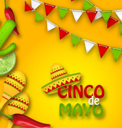 칠리 페퍼, 솜브레로 모자, 마라카스, 라임 조각, 선인장과 함께하는 Cinco De Mayo의 기념일 축하 배너