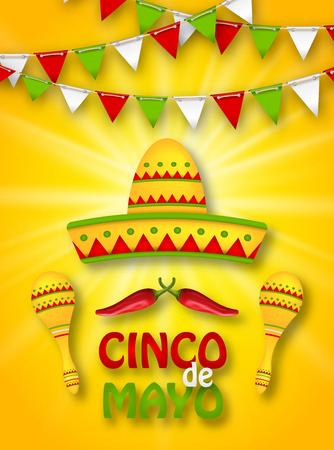 Holiday Celebration Banner for Cinco De Mayo Illustration