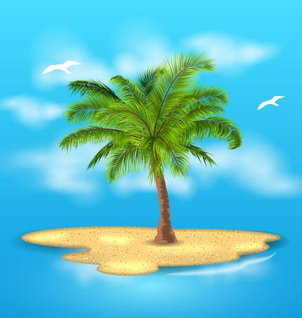 animal silhouette: Tropical Island with Palm Tree, Outdoor, Vacation