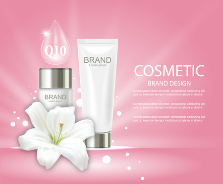 Advertising Poster with Cosmetic Tubes and Lily Flower