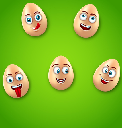 Happy Easter Background with Cheerful Cartoon Eggs