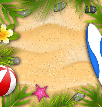 Beautiful Poster with Palm Leaves, Beach Ball, Frangipani Flower, Starfish, Surf Board, Sand Texture