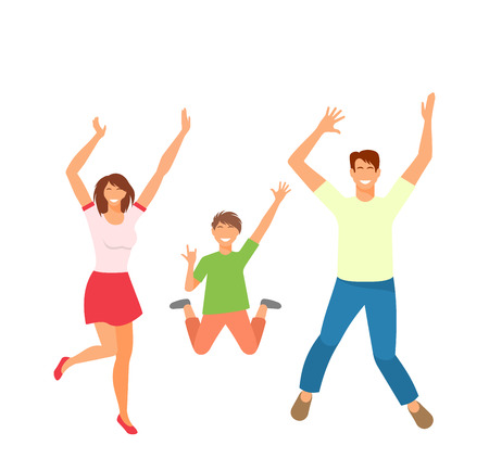 Father, Mother and Son Jumping. Happy Active Family Isolated Illustration