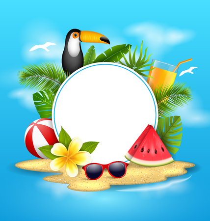 holiday: Summer Poster with Toucan Bird, Watermelon, Sea, Island, Beach, Orange Cocktail,