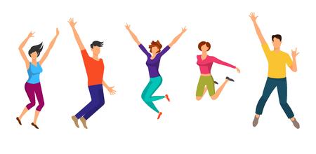 Jumping Boys and Girls. Geluk Mensen Geïsoleerd Stock Illustratie