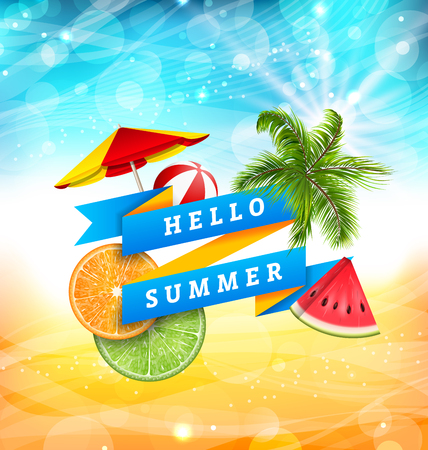 beachball: Summer Fun Poster Design with Watermelon, Umbrella, Beach Ball, Slices of Orange and Lime Illustration