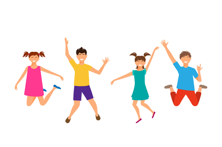 children party: Happy Cartoon Cheerful Young Girls and Boys Jumping. Children Isolated