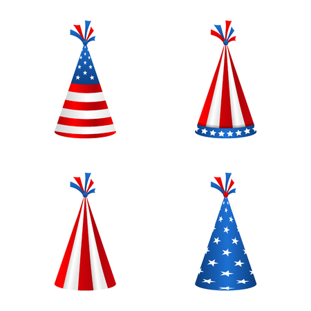 Set Party Hats with Flag of the United States of America. Accessory for American Holidays Stock Photo