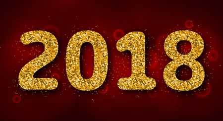 christmastime: Shimmering Background with Golden Dust for 2018 Happy New Year Illustration