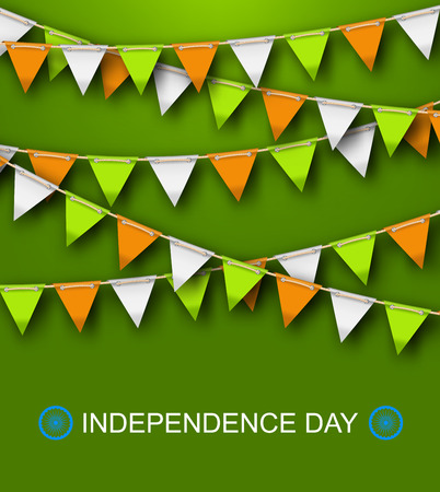 Greeting Background for Independence Day of India with Hanging Bunting - Illustration