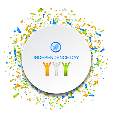 Celebration Card for Independence Day of India with Confetti, 15th of August Illustration