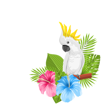Parrot White Cockatoo with Colorful Exotic Flowers Blossom and Tropical Leaves, Isolated on White Background - Illustration Vector
