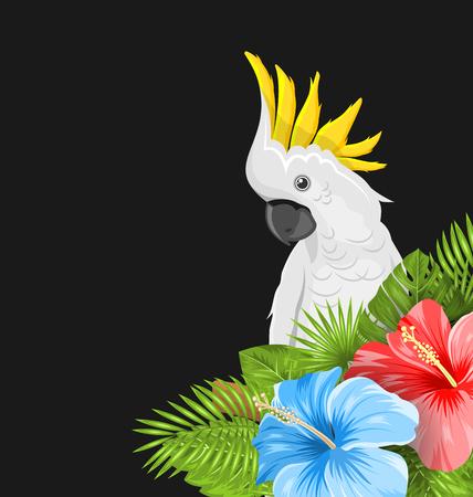 Papegaai Witte Kaketoe met Kleurrijke Hibiscusbloemen Bloesem en Tropische Bladeren, Exotische Achtergrond - Illustratievector