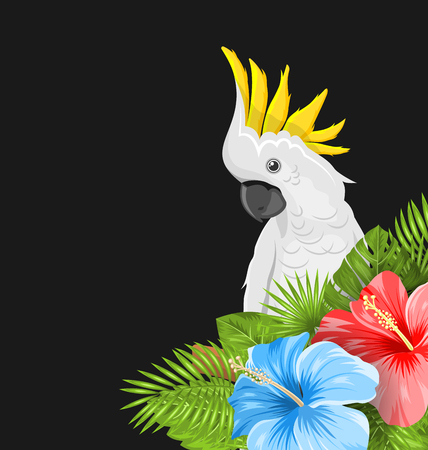 macaw: Parrot White Cockatoo with Colorful Hibiscus Flowers Blossom and Tropical Leaves, Exotic Background - Illustration Vector