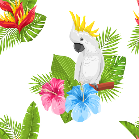 Seamless Exotic Pattern with Parrot Cockatoo and Tropical Leaves and Flowers Illustration