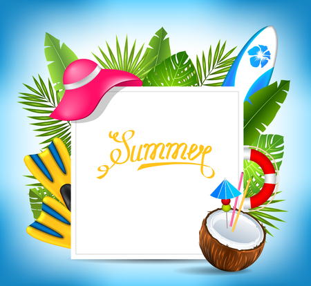 Tropical Exotic Design Card with Beach Accessories, Summer Time Template
