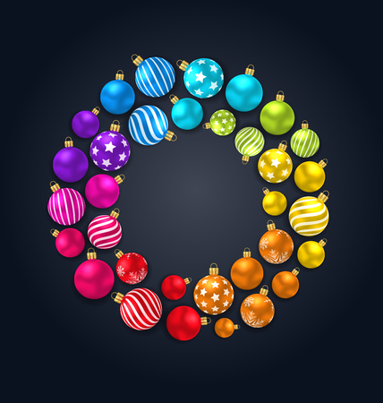 Collection Colorful Christmas Glass Balls on Dark Background. Vectores
