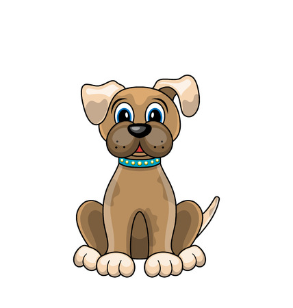 Cartoon Dog Sitting in Collar Isolated on White Background.