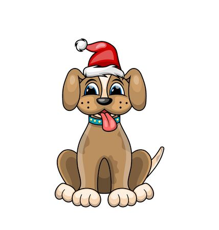 Christmas Dog Portrait in Red Santa Hat. Character Poppy Isolated on White Background. Illustration