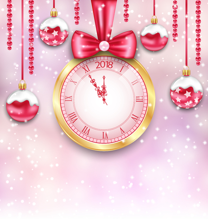 New year Background with Christmas Balls and Clock.