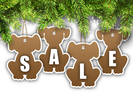 Wallpaper with Fir Branches and Stickers Dog, Sale Tags, Offers, Discounts.