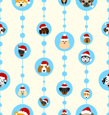 Seamless Wallpaper with Heads Dogs in Santa Hats for Happy New Year 2018.