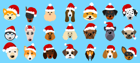 akita: Set Different Breeds of Dogs in Hats of Santa Claus, Symbols New Year 2018. Illustration