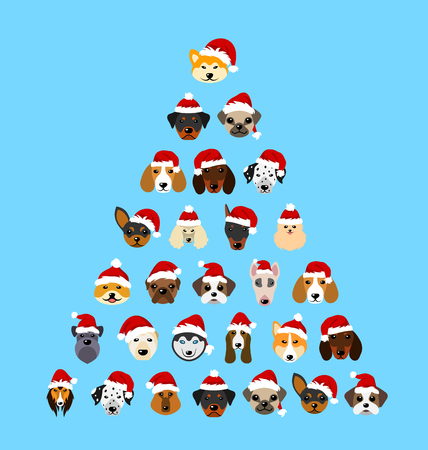 beagle terrier: Set Different Breeds of Dogs in Hats of Santa Claus, Symbols New Year 2018. Illustration