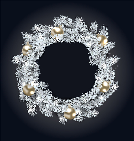 Christmas Wreath with Golden Balls.