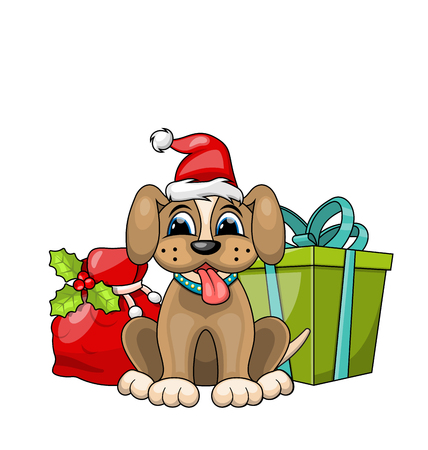 Funny Dog Wearing Santa Hat with Christmas Gift Boxes. Illustration