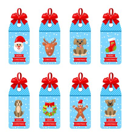 Collection Christmas Labels with Bows and Elements Isolated on White Background.