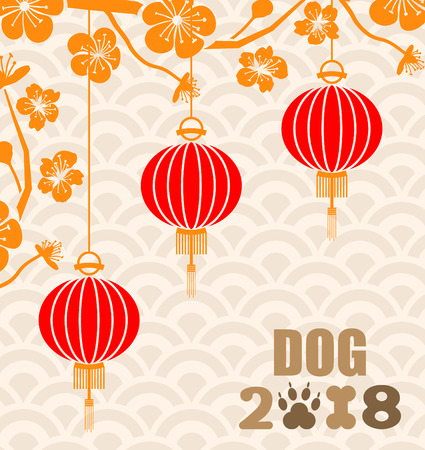 Happy Chinese New Year 2018 Card with Hanging Lanterns and Blossom Sakura - Illustration Vector Illustration