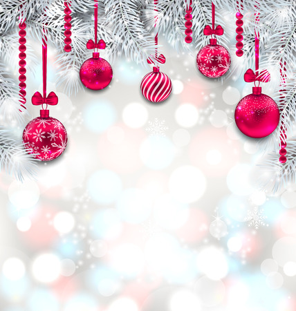 Shimmering Light Wallpaper with Fir Branches and Christmas Pink Balls Stock Photo